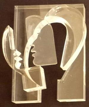 4teiliges Acrylglas-Objekt mit Lasergravur: Kopf.: Hartmann, Hans.