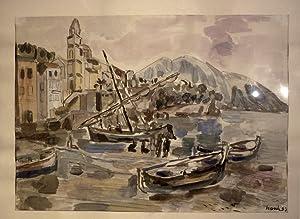 Südliche Hafenstadt. Bleistift und Mischtechnik auf Papier.: Hosch, Karl (1900-1972).