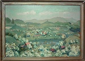 Hügellandschaft mit See. Oel auf Karton.: Schellenberg, Jakob Rudolf (1895-1961).