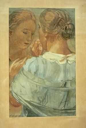 Zwei Frauen. Mischtechnik auf Papier.: Bodmer, Paul (1886-1983) .