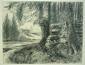 Holzbeige am Waldrand. Original Kohlezeichnung.: Kündig, Reinhold (1888-1984).