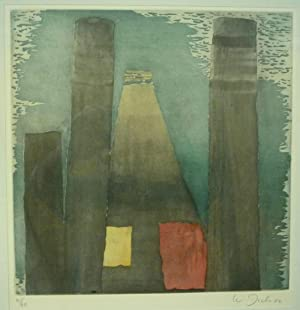 Zelthaus. Original Farbaquatinta-Radierung.: Dick, Walter (*1950).