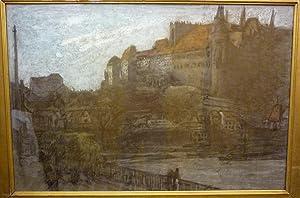 Schloss und Brücke in Meissen (Deutschland). - The Castle and Bridge of Meissen. Pastell und ...