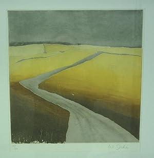 Flusslandschaft. Original Farbaquatinta-Radierung.: Dick, Walter (*1950).