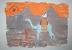 Sphynx und Pyramiden von Gizeh bei Kairo. Original Lithographie.: Rüegg, Albert (1902-1986).