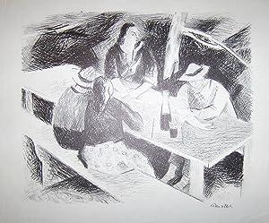 In der Wirtschaft. Original Lithographie.: Theurillat, Herbert (1896-1987).