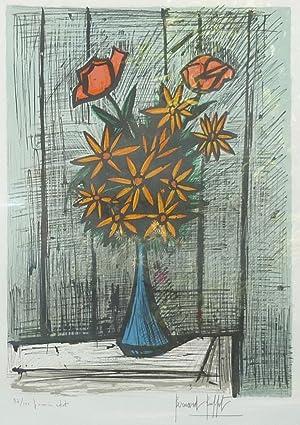 Bouquet de marguerites aux deux roses. Farbige Original-Lithographie.: Buffet, Bernard (1928-1999).