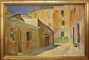 Südliche Häusergruppe. Oel auf Leinwand auf Platte aufgezogen.: Garrel, Marga von (*1913)...