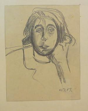 Porträt-Skizze. Original Kohlezeichnung.: Meyer, Hans Jakob. (1903-1981).