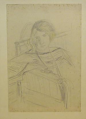 Sasha Morgenthaler sitzt im Sofa. Original Kohle-Zeichnung: Morgenthaler, Ernst (1887-1962).
