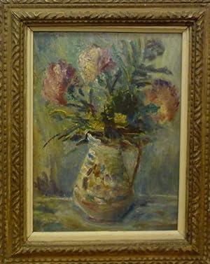 Stilleben mit Blumen und Vase. Oel auf Holz.: Anonym.