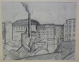 Fabriklandschaft Zürich Escherwies. Kohlezeichnung auf Papier.: Kurfiss, Gottlieb (1925-2010).