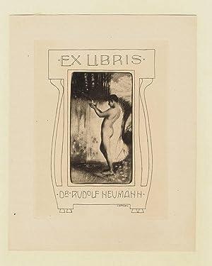 Ex Libris für Rudolf Neumann, in der Platte signiert, verso hs. signiert.: Ex Libris - Hönich,...