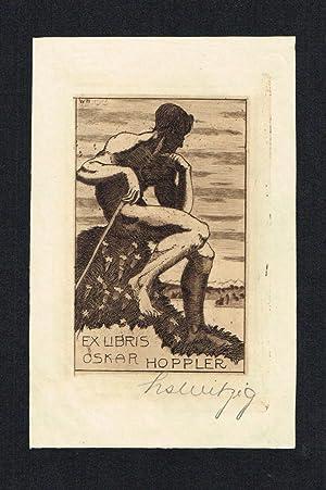 Ex Libris für Oskar Hoppler, in der Platte monogrammiert, datiert 1913 und hs. signiert.: Ex ...