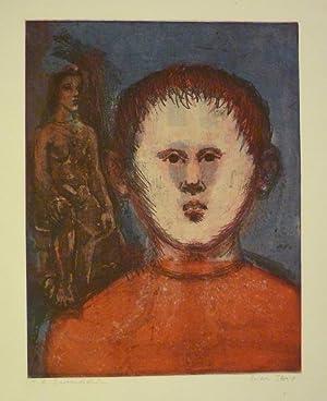 Jüngling mit Hintergrund. Farbige Aquatinta-Radierung.: Streit, Erika (1910-2011).