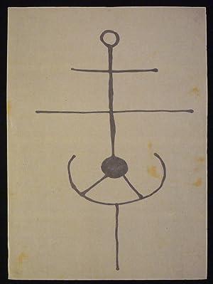 Komposition mit Figur auf Ständer. Original-Graphik.: Weber, Hugo (1918-1971).
