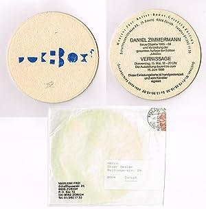 Einladungskarte. Neue Objekte 1985-86 und Vorstellung der gesamten Auflage der Edition Jukebox.: ...
