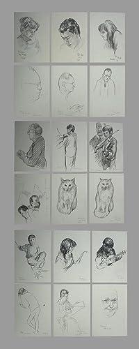 18 signierte Originalzeichnungen (20x14,7 cm): Portrait-Zeichnungen, nummeriert: Brunner, Arnold (1909-1972).