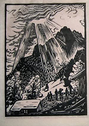 Sonnenuntergang. Original-Linolschnitt.: Originalgraphik - Tschudi, Lilian Susanna Ursula, gennant ...
