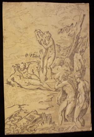 Les Nymphes au bain. Woodcut (Chiaroscuro).: Andreani, Andrea (1540-1623).