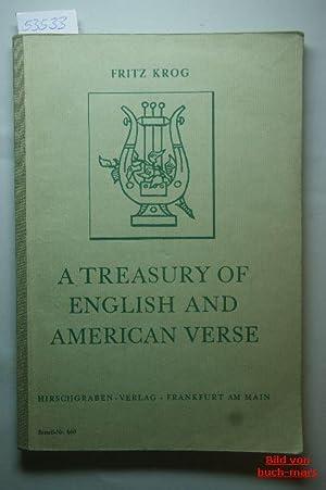 A Treasury of English and American Verse.: Krog, Fritz.: