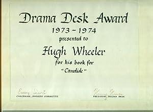 """DRAMA DESK AWARD 1973-1974 PRESENTEDTO HUGH WHEELER FOR HIS BOOK FOR """"CANDIDE."""": WHEELER,..."""