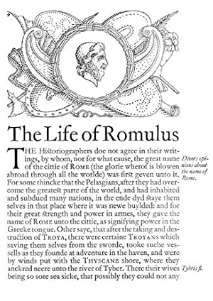 LIVES OF THE NOBLE GRECIANS AND ROMANES,: Plutarch; Plutarchus [Shakespeare