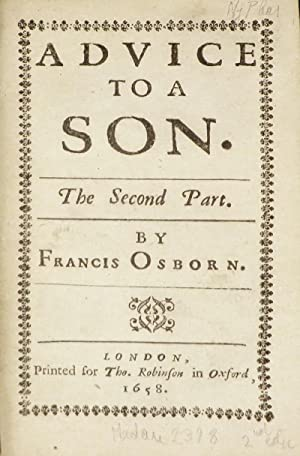 ADVICE TO A SON. Or, Directions For: Osborn Francis