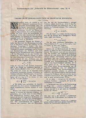 Offprint issue;] Theoretische Bemerkungen über die Brownsche Bewegung: Einstein A[lbert]