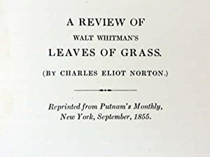 LEAF OF GRASS FROM SHADY HILL. With a Review of Walt Whitman's Leaves of Grass. Written by ...