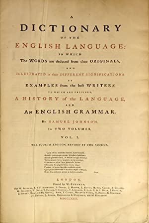 DICTIONARY OF THE ENGLISH LANGUAGE, in Which: Johnson Samuel