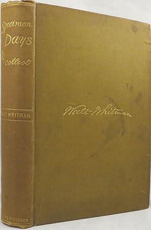SPECIMEN DAYS & COLLECT: Whitman Walt