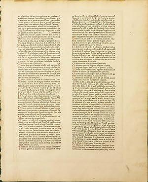 CATHOLICON] An Original Leaf From the Catholicon of Johannes Balbus: Balbus Johannes