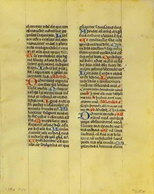 Leaf from an Illuminated French Manuscript on Vellum: Medieval Manuscript 14th Century