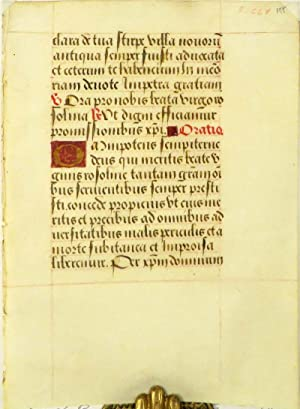 Manuscript Leaf from a Spanish Breviary.: Medieval Manuscript 14th or 15th Century