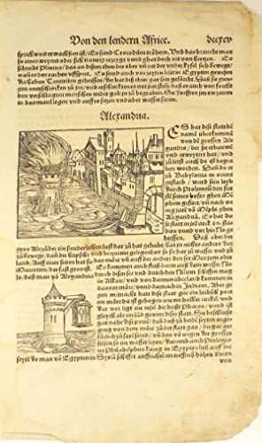 Leaf with Woodcuts, Showing Alexandria, From an Early Edition of Sebastian Münster's &...