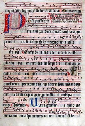 LARGE LEAF FROM A GERMAN MANUSCRIPT ANTIPHONAL: Illuminated Manuscript; Antiphonal