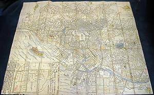 WOODBLOCK HAND-COLOURED MAP OF TOKYO; JAPAN EIRI: Japanese Hand-Coloured Wood-Block