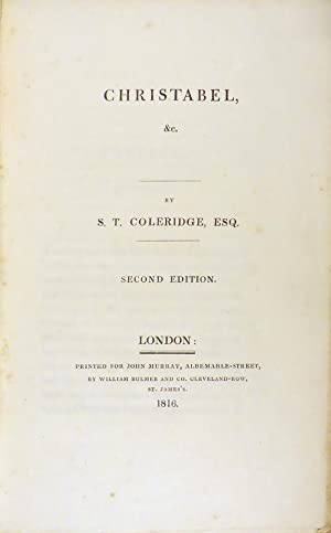 CHRISTABEL, &C.: Coleridge Samuel