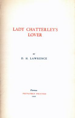 LADY CHATTERLEY'S LOVER: Lawrence D. H