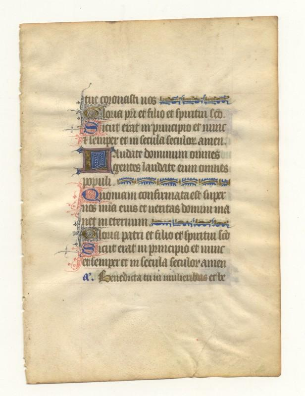 Lat. Stundenbuchblatt auf Pergament.
