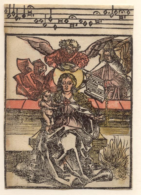Krönung der Maria mit Engeln. Altkolorierter Einblattholzschnitt.: Einblattholzschnitt