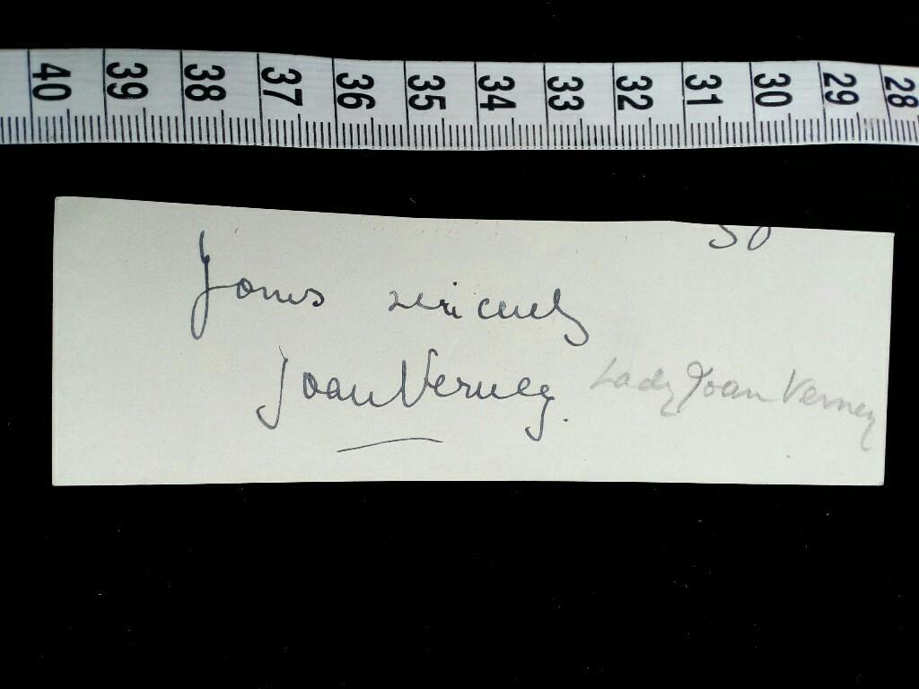 Original Unterschrift Der Bekannten Britischen HOFDAME Frau VERNEY Joan Elizabeth