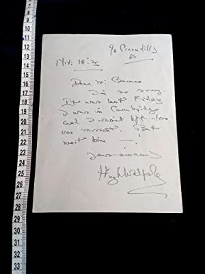 Original handgeschriebener Brief; ALS autographed letter signed. English author of the Herries ch...