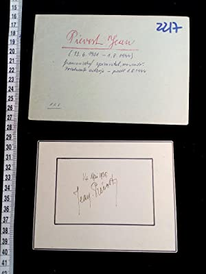 signierte Karte; original handsigned card. French writer, journalist, and Resistance fighter. Fra...