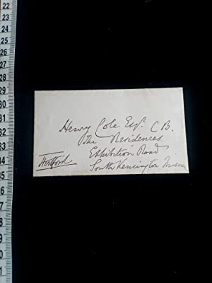 ORIGINAL hand signed envelope to Henry Arthur Cole. He served as Lord Chamberlain of the Househol...