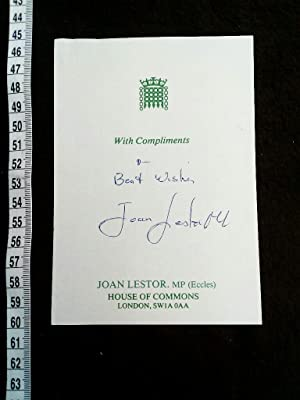 House of Commons card with signature. Original handsignierte Karte der britischen Politikerin.