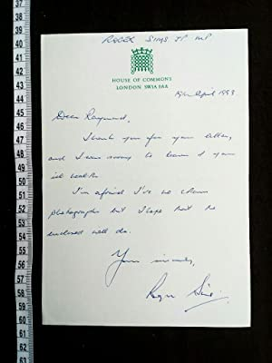 autographed letter signed (ALS). Private Secretary to William Whitelaw during Margaret Thatcher's...