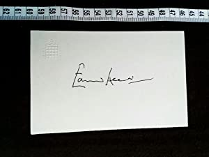 Original autograph on card with embossed emblem and picture of the famous british politician. Ori...