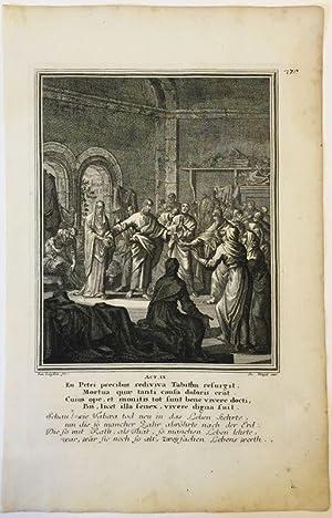 Apostelgeschichte 9 - Auferstehung Tabeas. Kupferstich v.